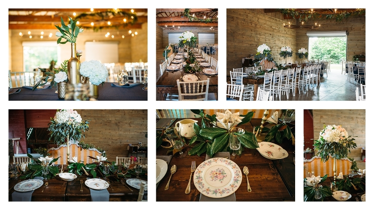 Asheville Barn Wedding Location Farm Tables Decorated With Vintage China At Celebration