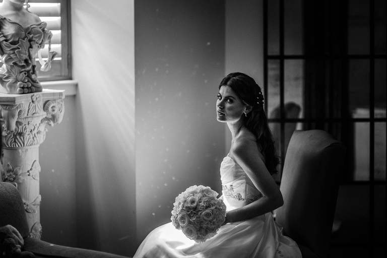 Black and white bridal portrait at Grand Bohemian Asheville. Asheville wedding photographer Kathy Beaver.